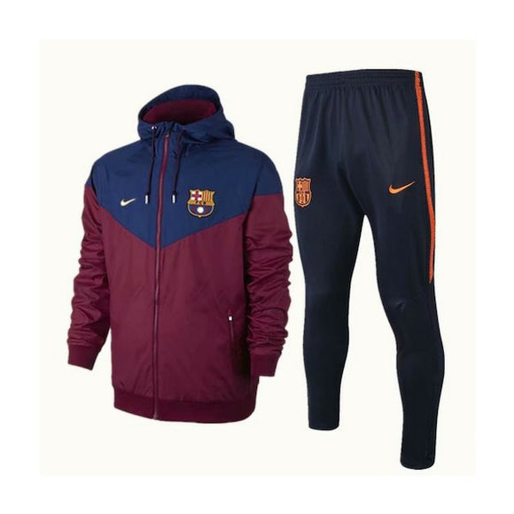 Barcelona | Maroon Windbreaker Jacket + Pants Training Suit 18/19