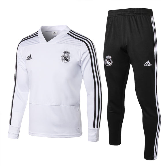 Real Madrid | White V- Collar Training Top + Pants 18/19