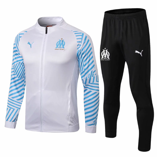 Marseille | White with Blue Sleeves Training Top + Pants 18/19