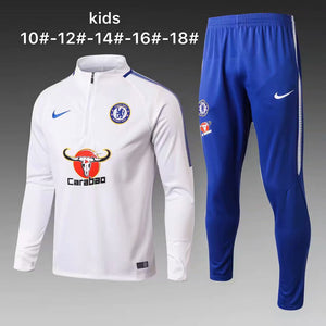 Chelsea | White Kids Training Top + Pants 17/18