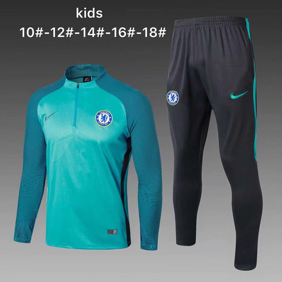 Chelsea | Green Kids Training Top + Pants 17/18