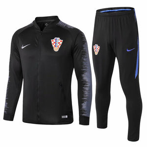Croatia | Black With Light Grey Sleeves | Training Tracksuit 18/19