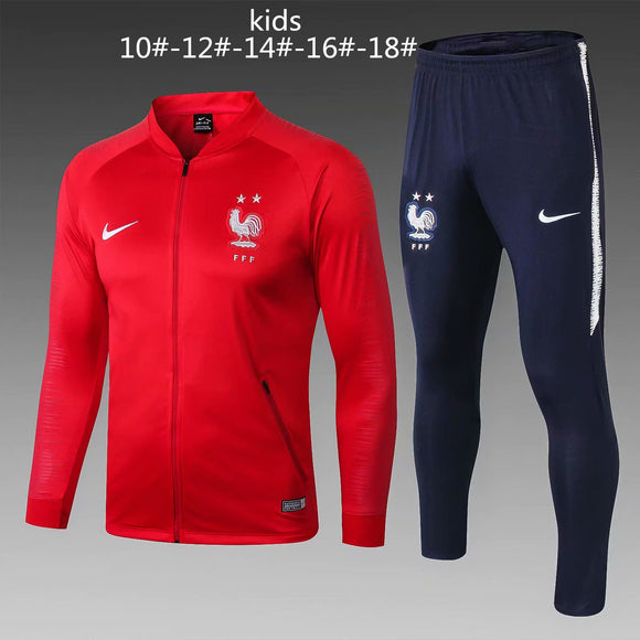 France | Kids  Red Training Tracksuit 18/19