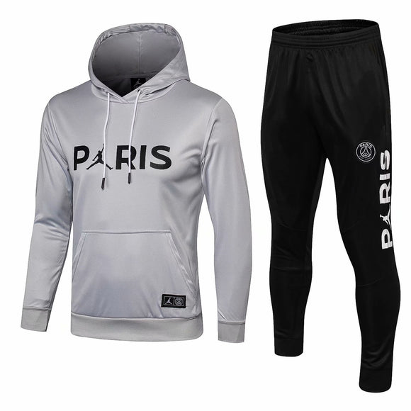 PSG | Jordan Light Grey Hoodie  Sweater + Pants Training Suit 18/19