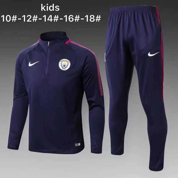 Man City | Dark Blue Kids Training Top + Pants 17/18