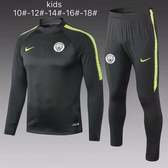 Man City | Green Kids Training Top + Pants 18/19