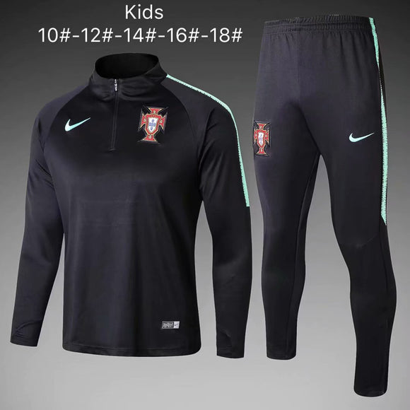 Portugal | Black Type A | Kids Training Top + Pants 18/19