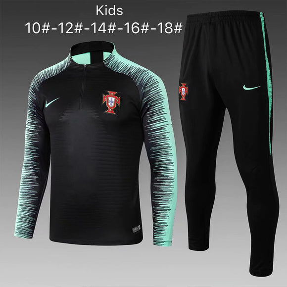 Portugal | Black Type B | Kids Training Top + Pants 18/19