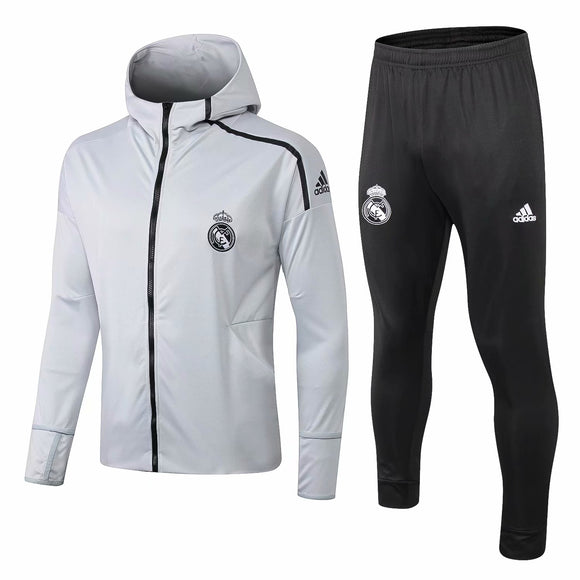 Real Madrid | Light Grey Hoodie Jacket + Pants Training Suit 18/19