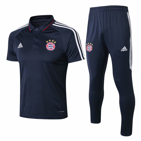 Bayern | Blue Polo + Pants Training Suit 17/18