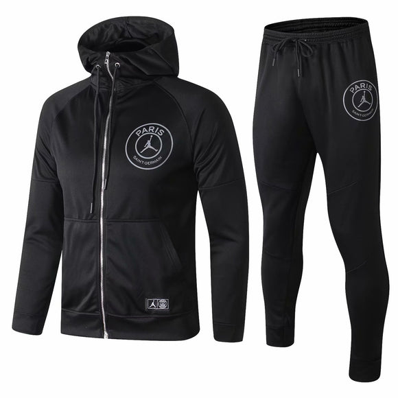 PSG  | Jordan Black Hoodie Jacket Type B + Pants Training Suit 18/19