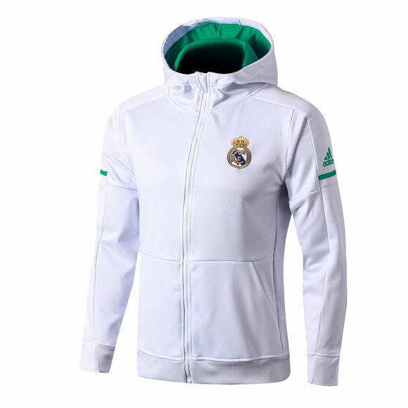 Real Madrid | White Hoodie Jacket (Green Inner)+ Pants Training Suit 17/18