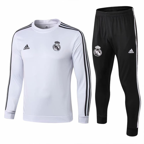 Real Madrid | White Round - Collar Training Top + Pants 18/19