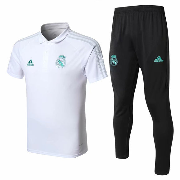 Real Madrid | White Polo + Pants Training Suit 17/18