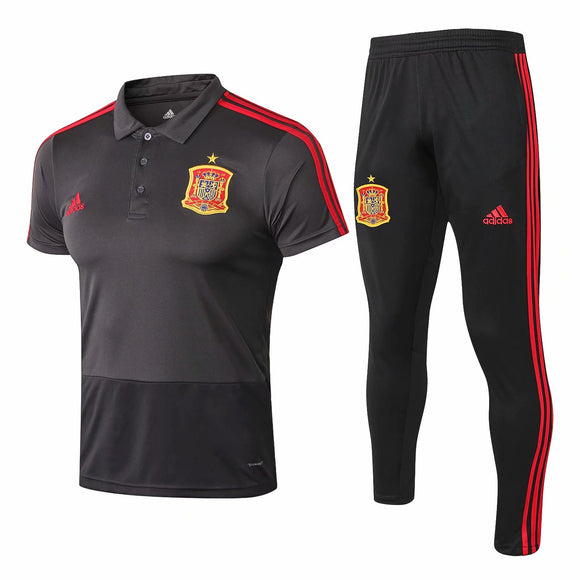 Spainl | Grey Polo + Pants Training Suit 18/19