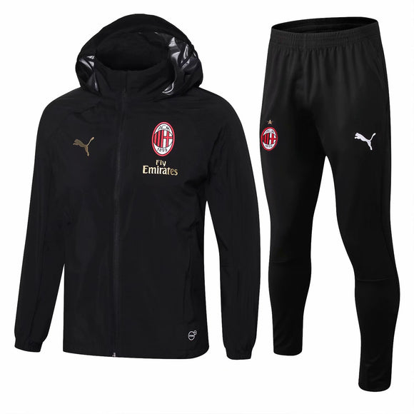 AC Milan | Black Windbreaker Jacket + Pants Training Suit 18/19