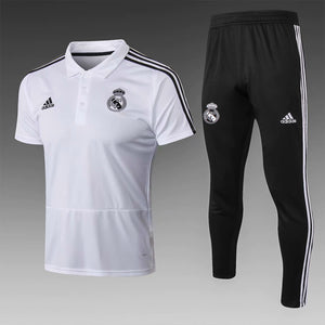 Real Madrid | White Polo + Pants Training Suit 18/19