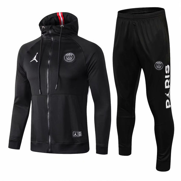 PSG  | Jordan Black Hoodie Jacket Type A + Pants Training Suit 18/19