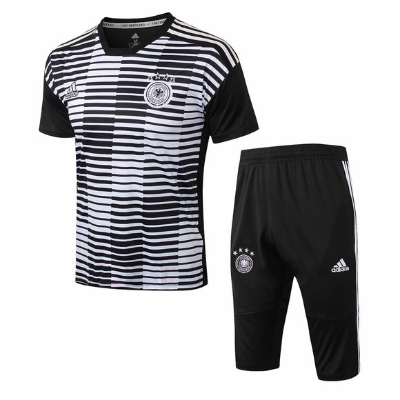 Germany | White - Black Striped Short Training Suit 18/19