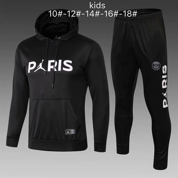 PSG | Black Jordan Kids Hoodie Sweater + Pants 18/19