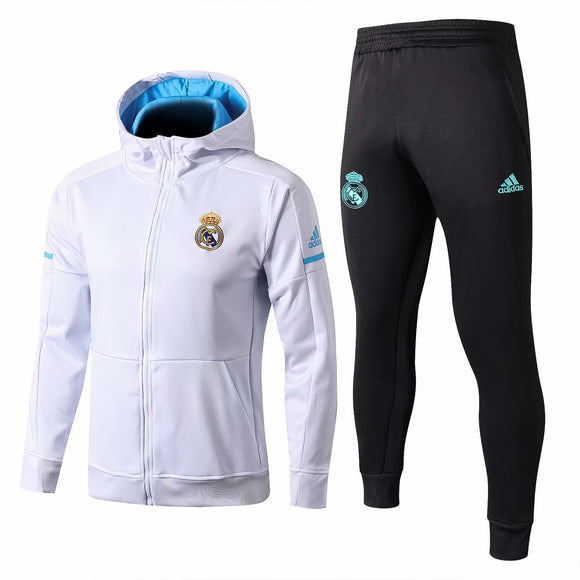 Real Madrid | White Hoodie Jacket (Blue Inner)+ Pants Training Suit 17/18