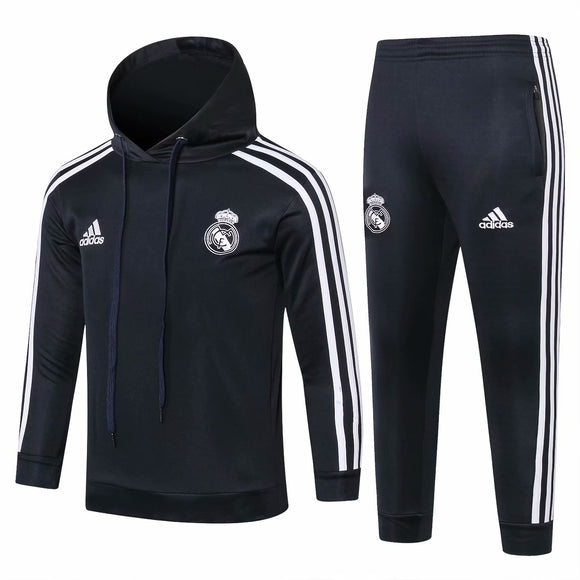 Real Madrid | Kids Black White Sleeves Hoodie Sweater + Pants 18/19
