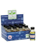 This a box showing all 12 30 ml bottles of nag Champa Fragrance oil in a display box