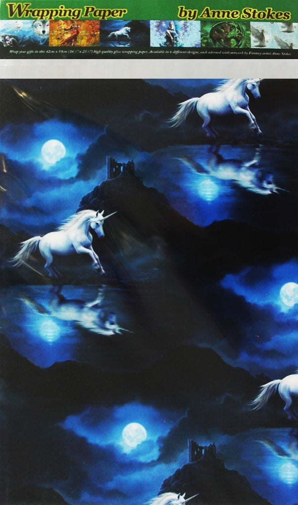 HIGH QUALITY MOONLIGHT UNICORN SILK WRAPPING PAPER BY ANNE STOKES