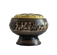 side view of engraved brass black charcoal burner