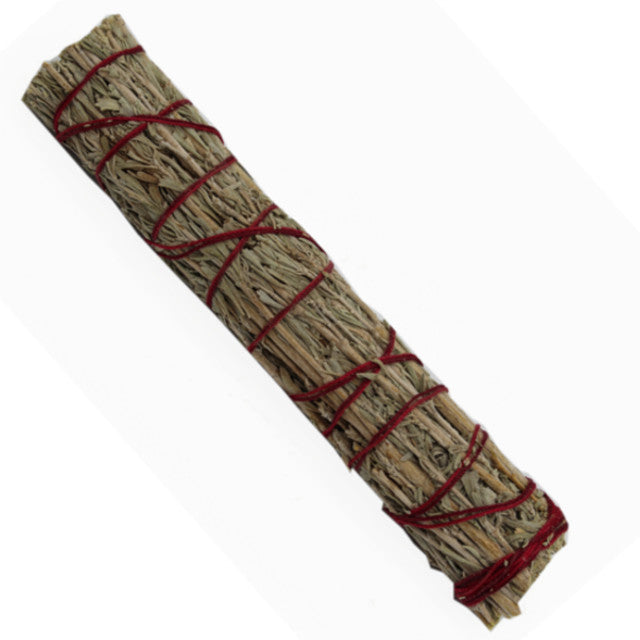 7 inch blue sage and dragon blood smudge stick wrapped in natural cotton strand