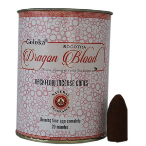 Goloka Dragon Blood Back Flow incense cones in a pink coloured tin