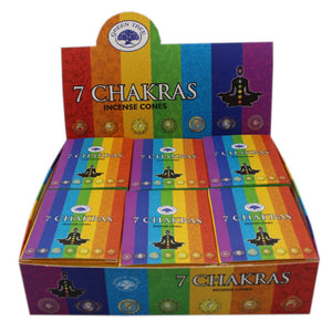 Green Tree 7 Chakra Incense Cones Approx. 10 Cones per Packet
