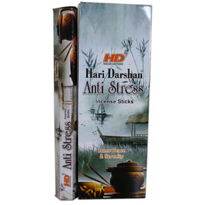 Box of Hari Darshan Anti Stress with one packet standing next to it picture shows a tradition Chinese waterway with incense sticks near pot on a stand on the bottom.