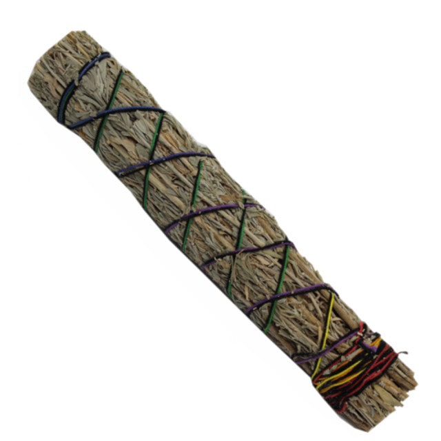 7 inch blue sage and mandrake smudge stick wrapped in natural cotton strand