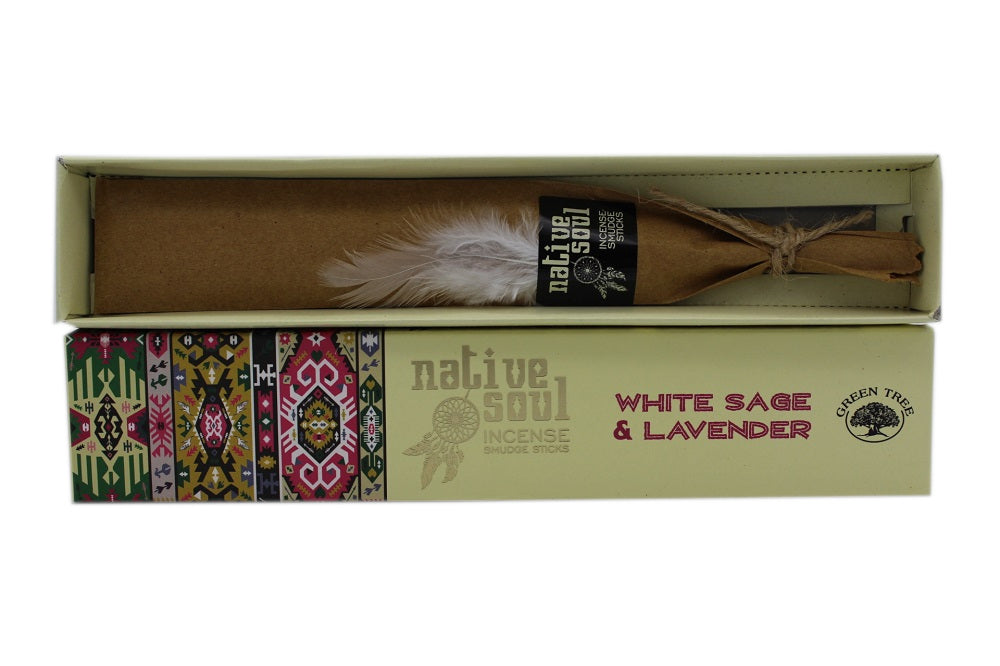 GREEN TREE NATIVE SOUL INCENSE STICKS WHITE SAGE & LAVENDER FOR CLEANSING & RELAXATION