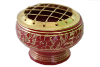 Red Decorative Charcoal Burner brass Incense Burner