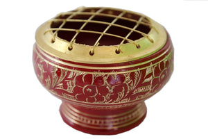 red brass charcoal burner with brass mesh top and engraving around the side