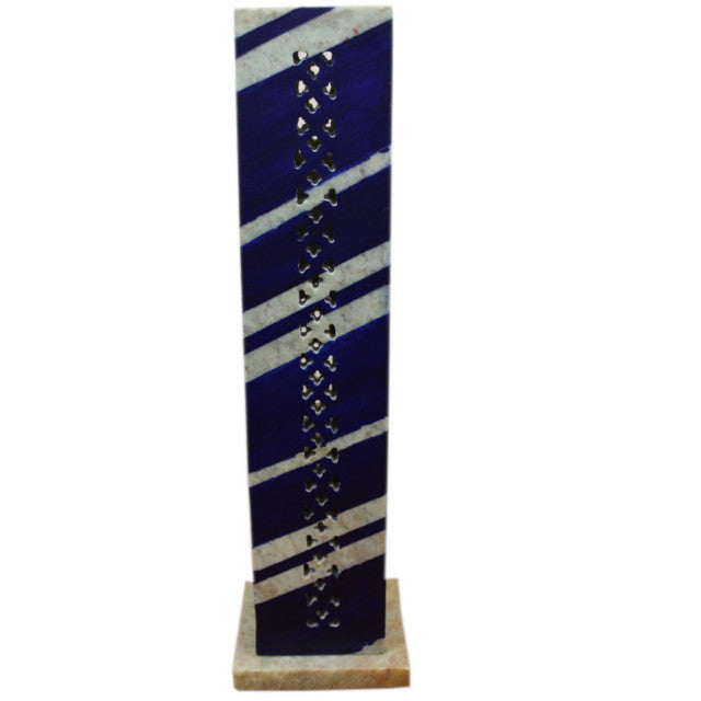 rectangleupright incense burner with blue diagonal stripes moving around all four side