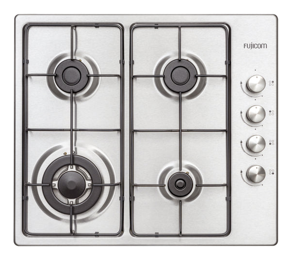 GAS HOB 60 CM WITH BRUSHED STAINLESS STEEL SURFACE + TURBO BURNER