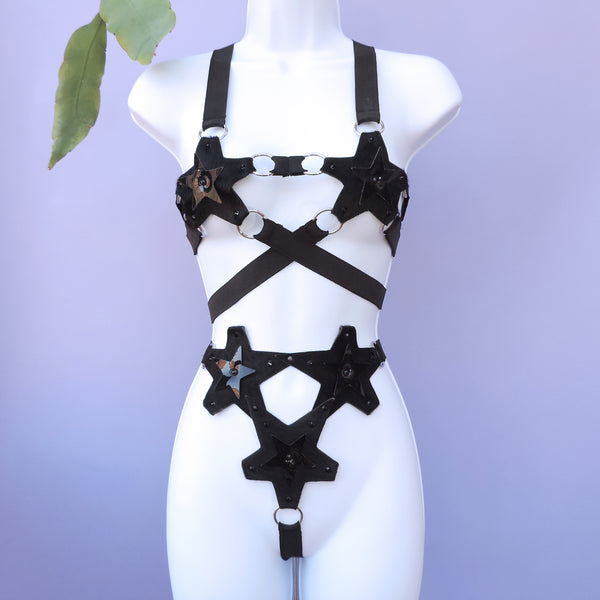 BLACK STAR BIKINI SET (Upcycled Leather - multiple colour options available) - Ada Zanditon Couture