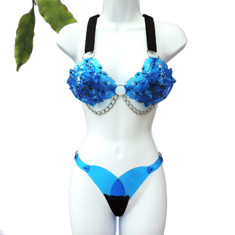 Rose Bra and Thong SET (in PVC - multiple colours available) - Ada Zanditon Couture