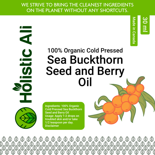 Organic PURE 100% Cold Pressed Sea Buckthorn Seed & Fruit Oil (2 Sizes) Sizes 30ml
