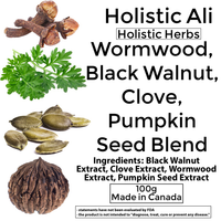 Wormwood + Black Walnut w/ Clove & Pumpkin Seed 100g Organically grown
