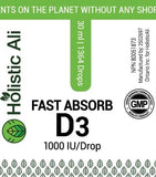 Holistic Ali Naturals Fast Absorb Vitamin D3 - 30 mL Buy one get one Free