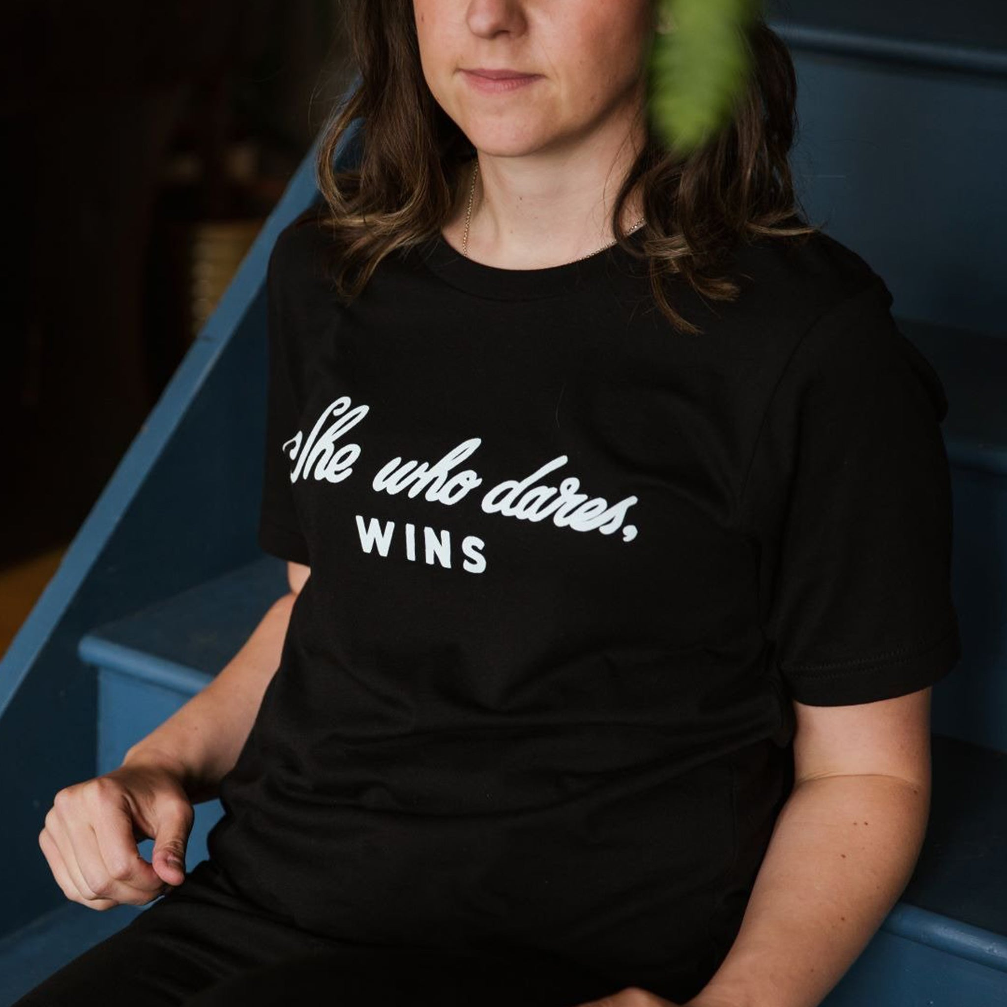 She Who Dares, Wins Black Tee