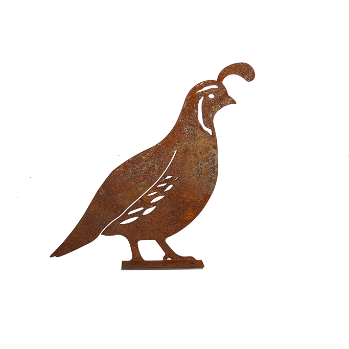 Bird Quail With Screw in Plate - rusted metal Silhouette