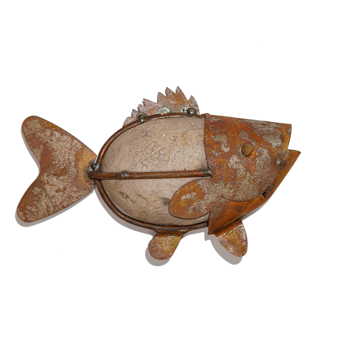 Stone fish with chain hook - garden ornaments