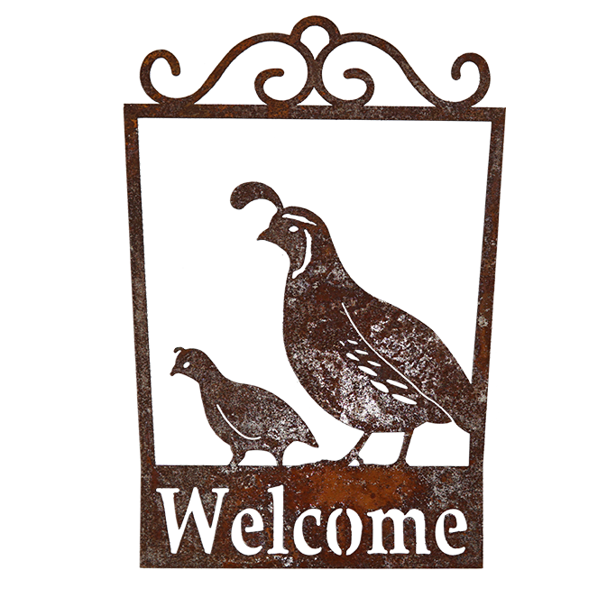 Welcome Signs - Squail - rusted metal arts in garden