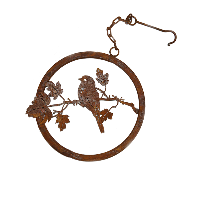 Bluebird on Maple Branch Ring with hook - rusted garden art