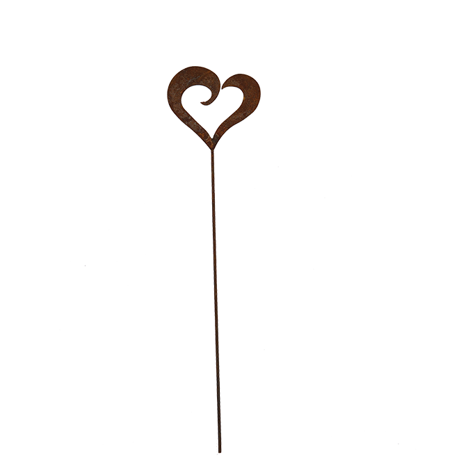 Heart pick - rusted garden stakes
